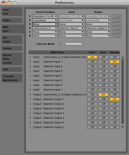 MIDI/Sync Preferences in Live