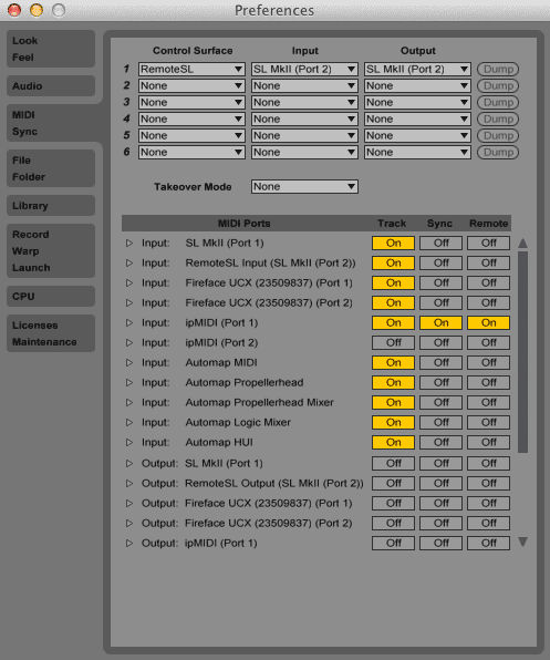 Ableton Live 9 Preferences - MIDI Sync tab