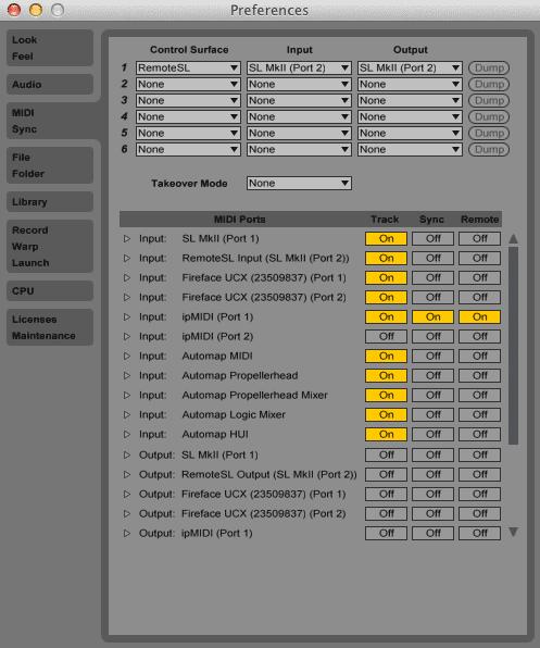 Ableton Live 9 Preferences - MIDI Sync tab