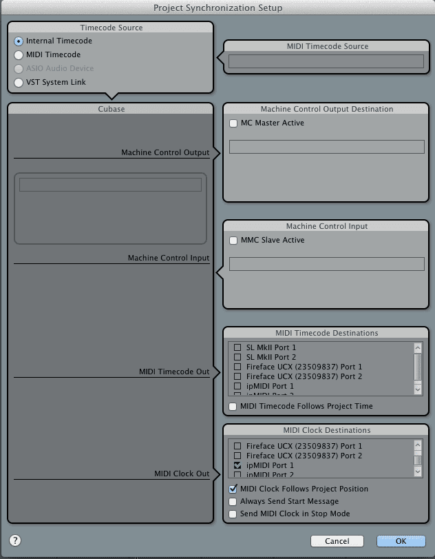 Project Synchronization window