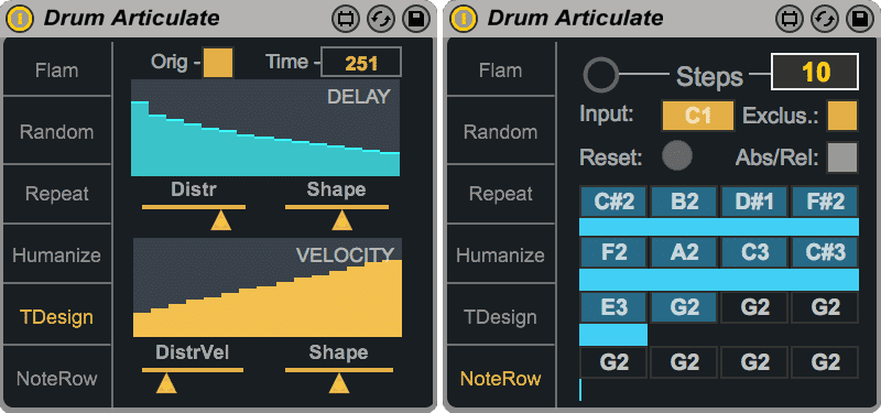 Drum Articulate - Time Designer & NoteRow modes